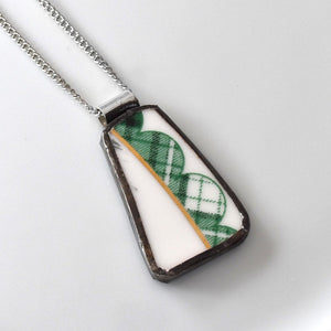 Broken China Jewelry Pendant - Green and White Scallop