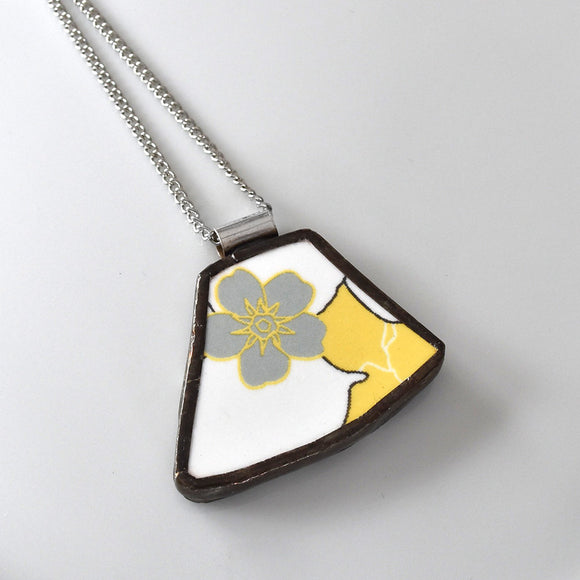Broken China Jewelry Pendant - Yellow and Silver