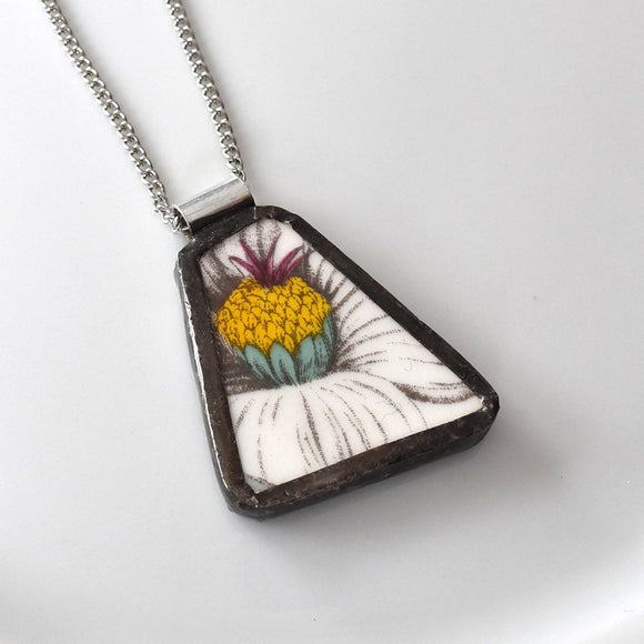 Broken China Jewelry Pendant - White Yellow Flower