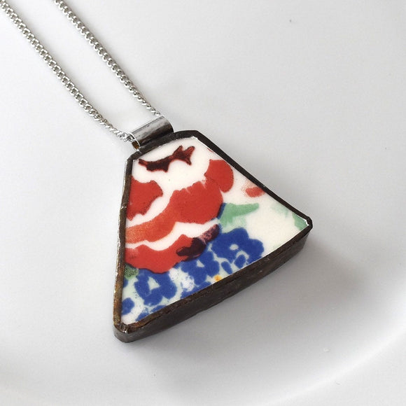 Broken China Jewelry Pendant - Red and Blue Flower