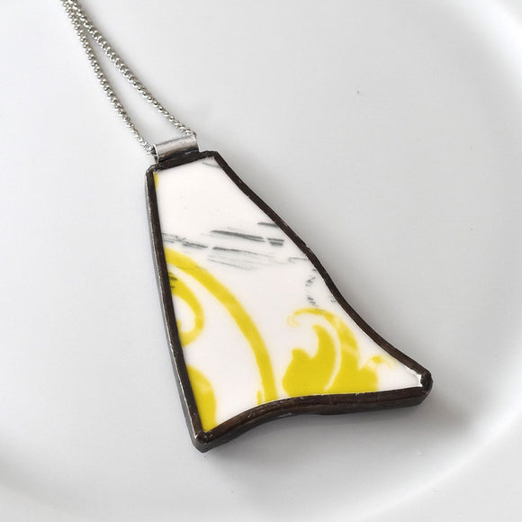 Broken China Jewelry Pendant - Modern Yellow Green and White