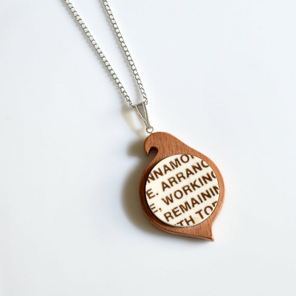 Simple Circle Mahogany Bird Recycled China Necklace - Apple Pie Plate Text - Arrange Working Remaining