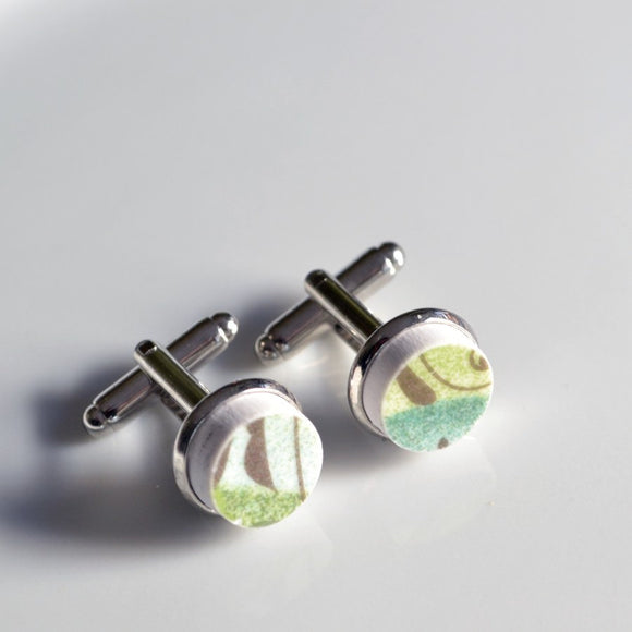 Broken China Silver Plated Cuff Links - Green
