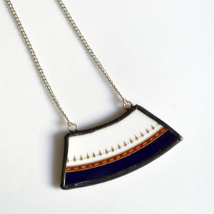 Wide Rim Broken China Jewelry Necklace  - Navy Red and Gold