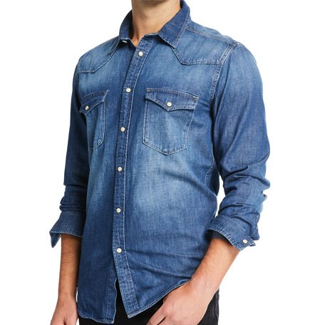 Vigoss Men's Woven Denim Shirt Medium Wash