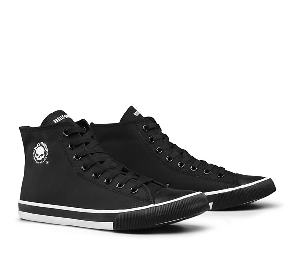 Harley Davidson Men's Baxter Hi-Top W/Skull - Black/White