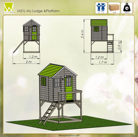 wooden child garden playhouse with platform lime green color