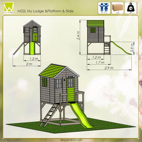 kids garden house for playing outside lime color slide and platform