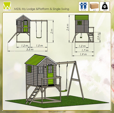 children garden house playhouse with swings lime color year 3-7