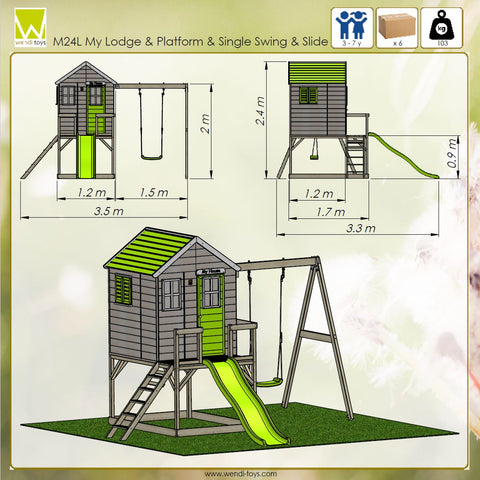 extra large children playhouse with slide and swing lime colore on the platform