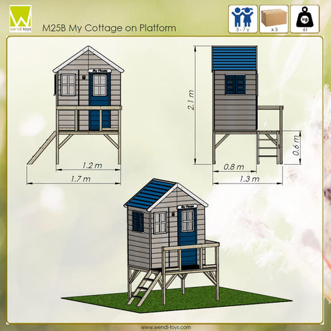 Blue children playhouse on the platform from Wendi Toys