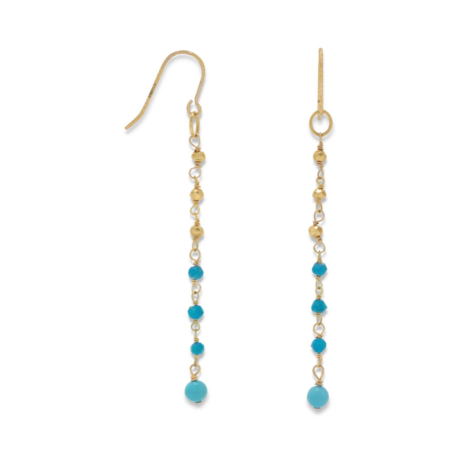 14K Gold Plated French Wire Earrings with Reconstituted Turquoise Beads - Rocky Mt. Discount Outlet