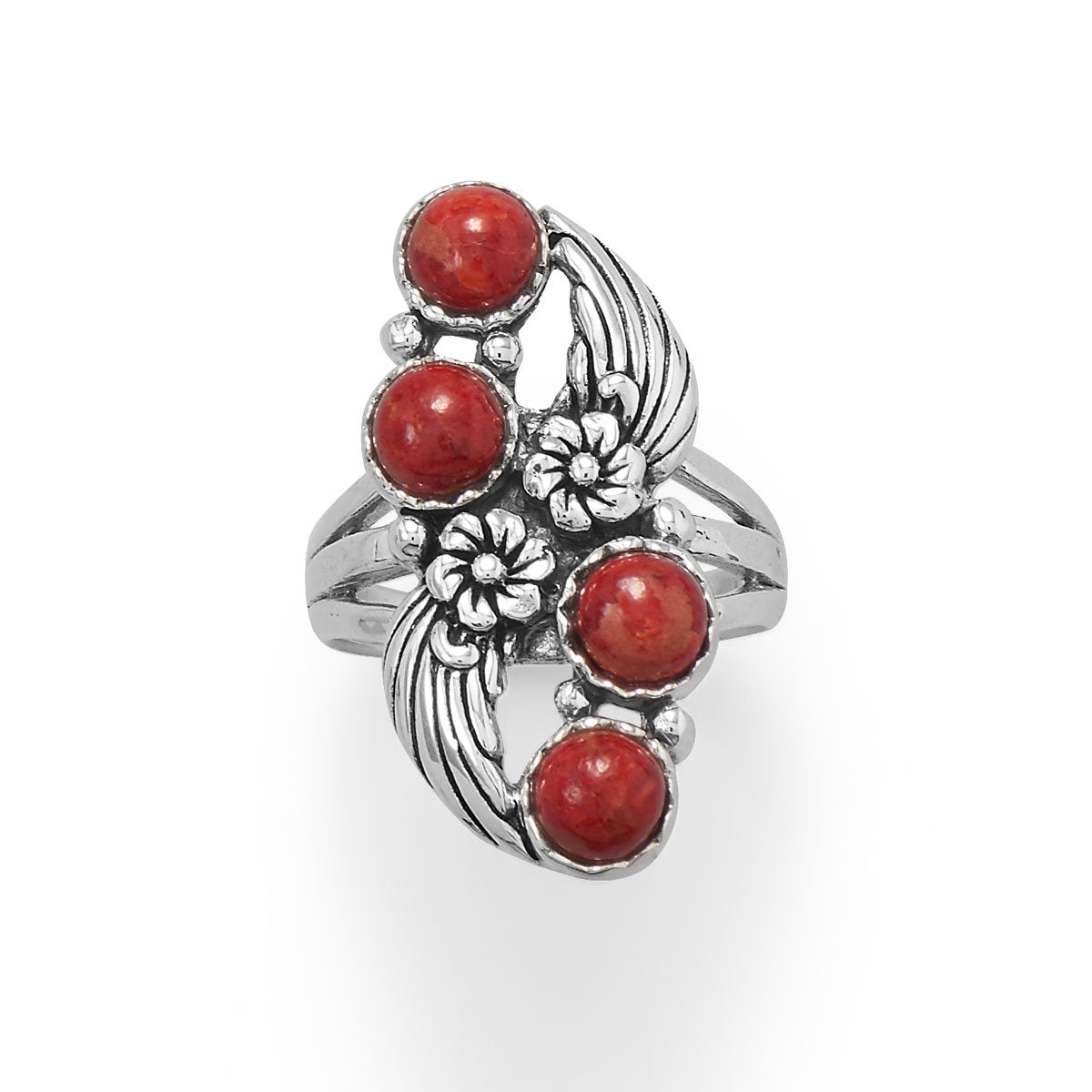 925 Sterling Silver Floral Design Dyed Red Coral Ring
