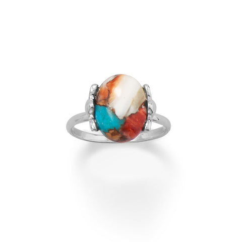 925 Sterling Silver Spiny Oyster and Turquoise Ring