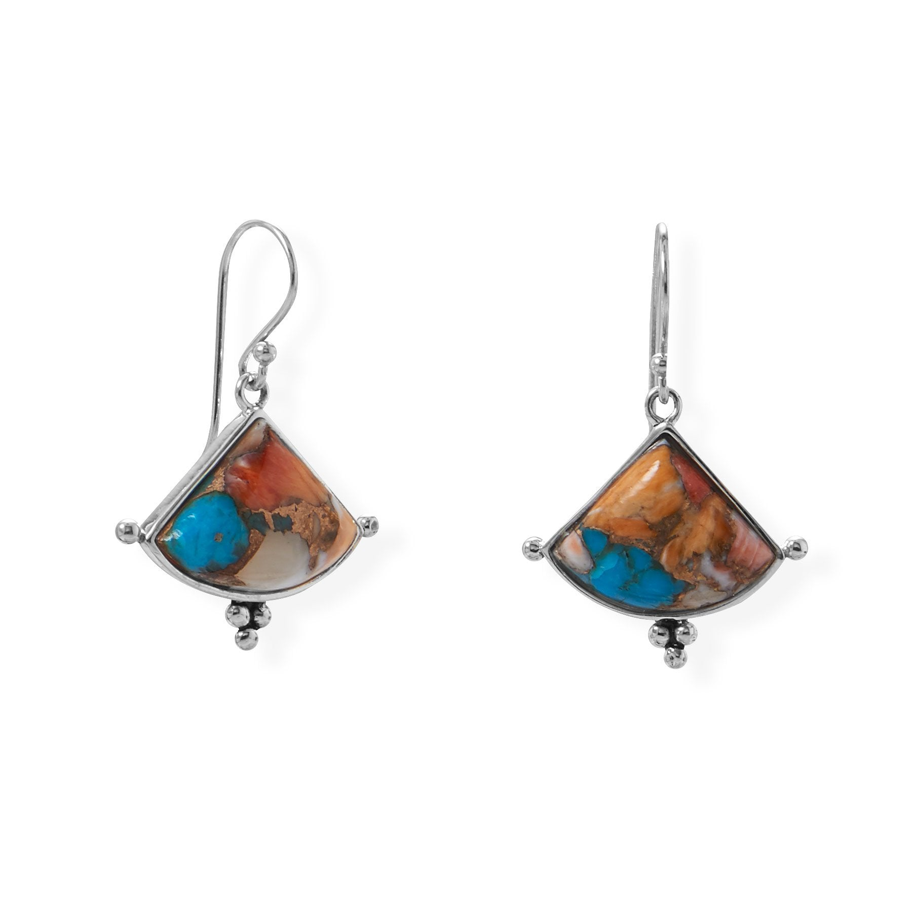 925 Sterling Silver Spiny Oyster and Turquoise Triangle Shaped Earrings