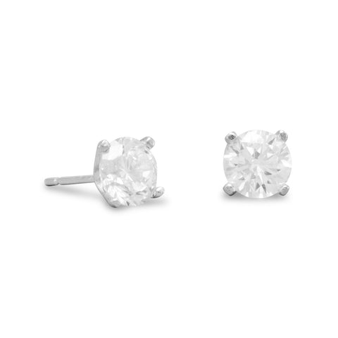 925 Sterling Silver Rhodium Plated 6mm CZ Stud Earrings