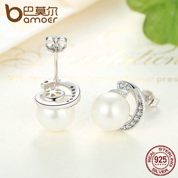 BAMOER Pearl Earrings Jewelry 925 Sterling Silver White Pearl Push-back Stud Earrings - Rocky Mt. Outlet Inc - Shop & Save 24/7