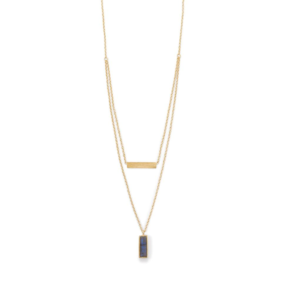 14 Karat Gold Plated Labradorite Double Strand Bar Necklace