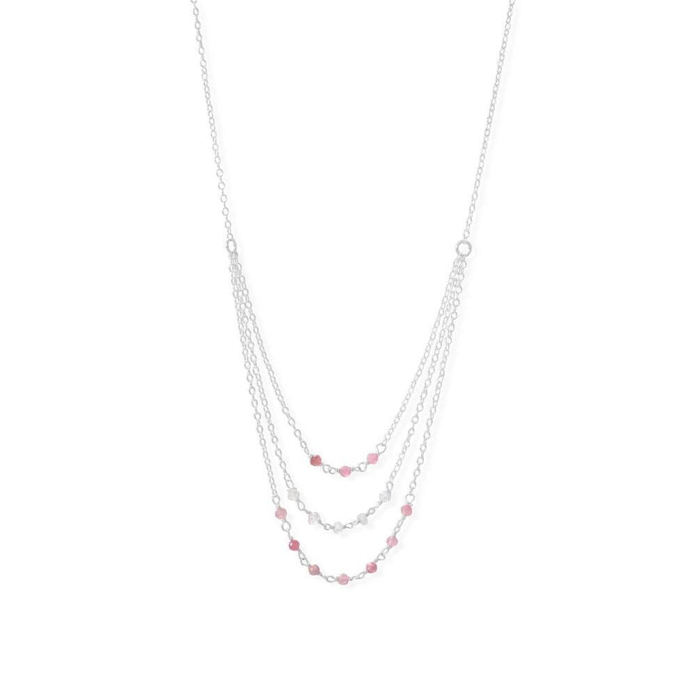 "Pretty in Pink! 16"" 3 Row Pink Tourmaline and Rainbow Moonstone Necklace"