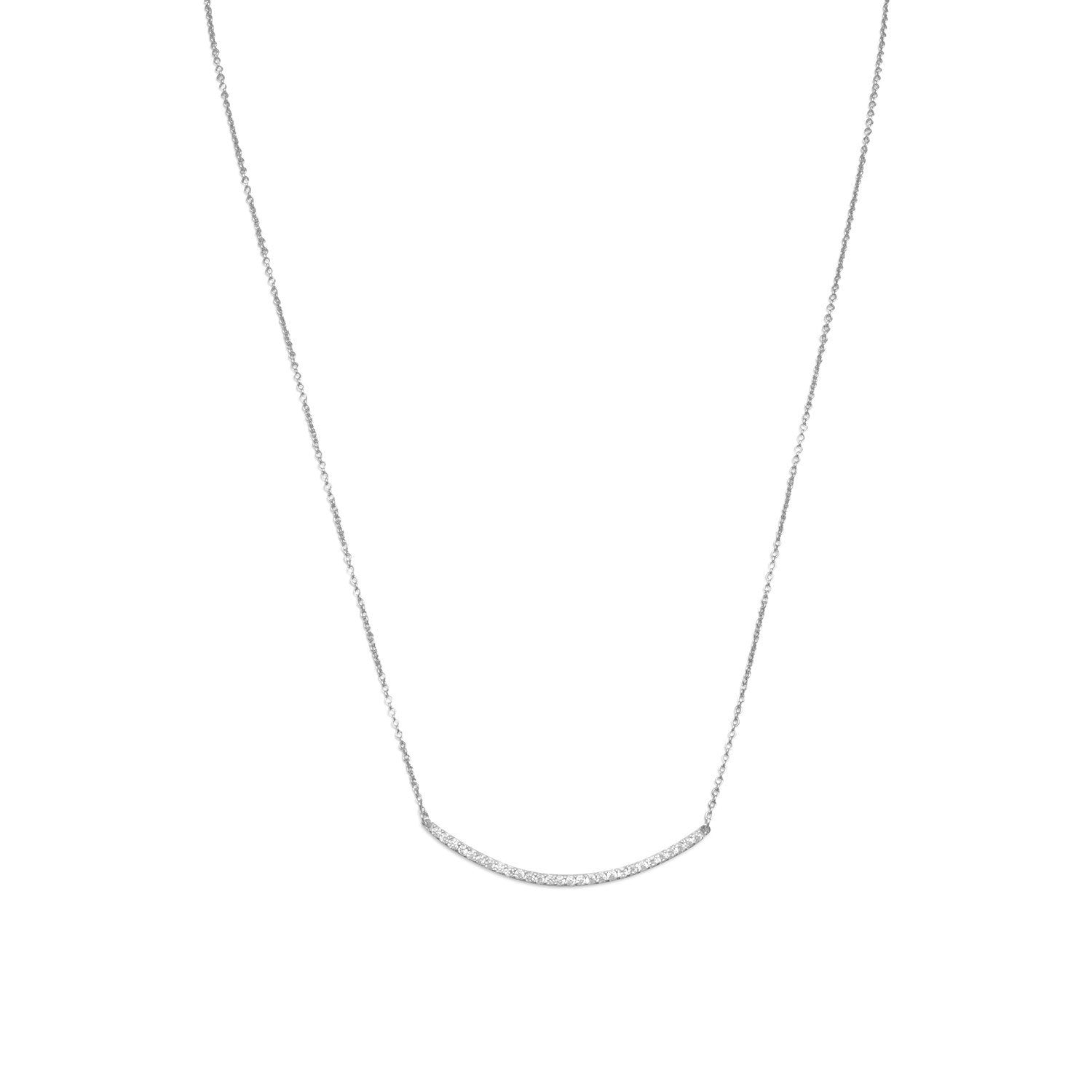"18"" + 2"" Rhodium Plated Curved CZ Bar Necklace - Rocky Mt. Discount Outlet"