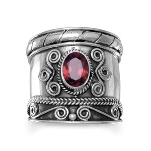 Handmade Oxidized Bali Style Garnet Ring - Rocky Mt. Outlet Inc - Shop & Save 24/7