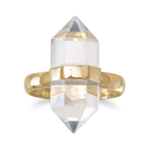 925 Sterling Silver 14 Karat Gold Plated Spike Pencil Cut Clear Quartz Ring