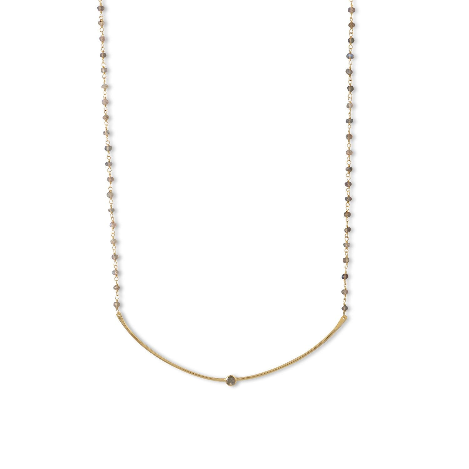 14 Karat Gold Plated Labradorite Bead and Curved Bar Necklace - Rocky Mt. Discount Outlet