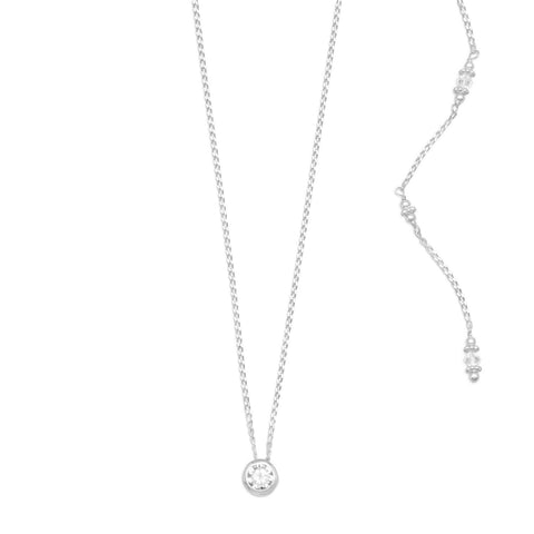 926 Sterling Silver Elegant CZ and Crystal Back Drop Necklace