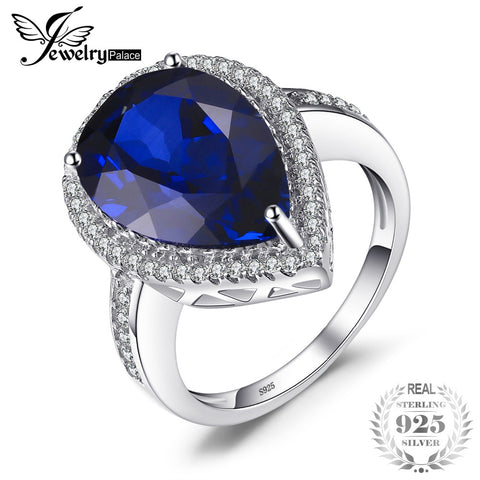 JewelryPalace Charm 7ct Water Drop Cut Created Sapphire 925 Sterling Solid Silver Luxury Ring