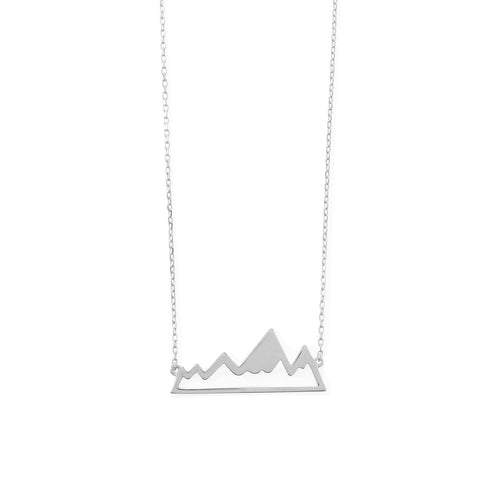 925 Sterling Silver Rhodium Plated Mountain Range Necklace