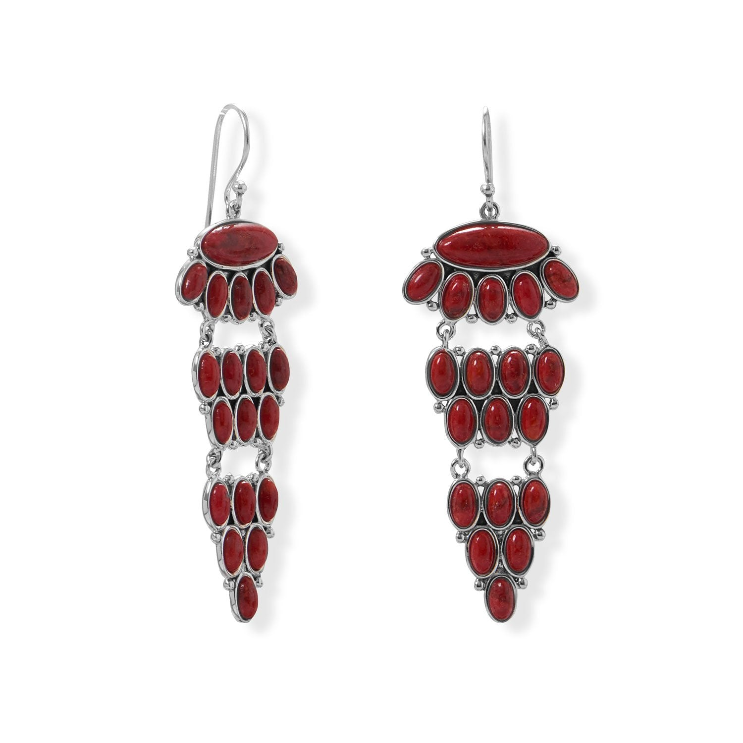 Tiered Dyed Red Coral Earring