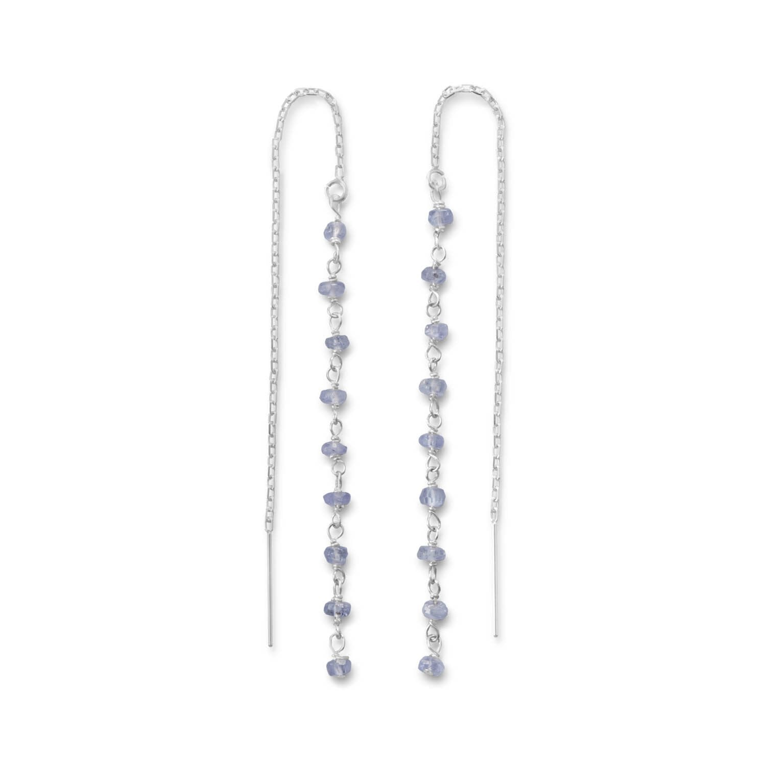 Genuine 925 Sterling Silver Tanzanite Bead Threader Earrings - Rocky Mt. Outlet Inc - Shop & Save 24/7