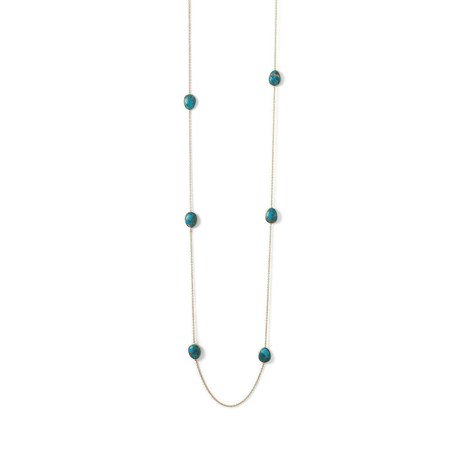 14 Karat Gold Plated Turquoise Stone Endless Necklace - Rocky Mt. Discount Outlet