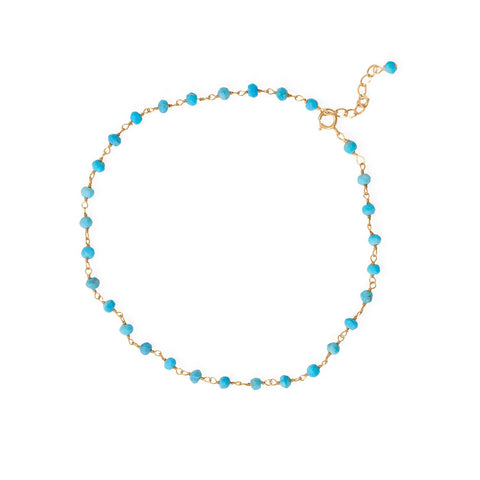 "Summer Blues! 9.5""+1"" 14 Karat Gold Plated Beaded Anklet"