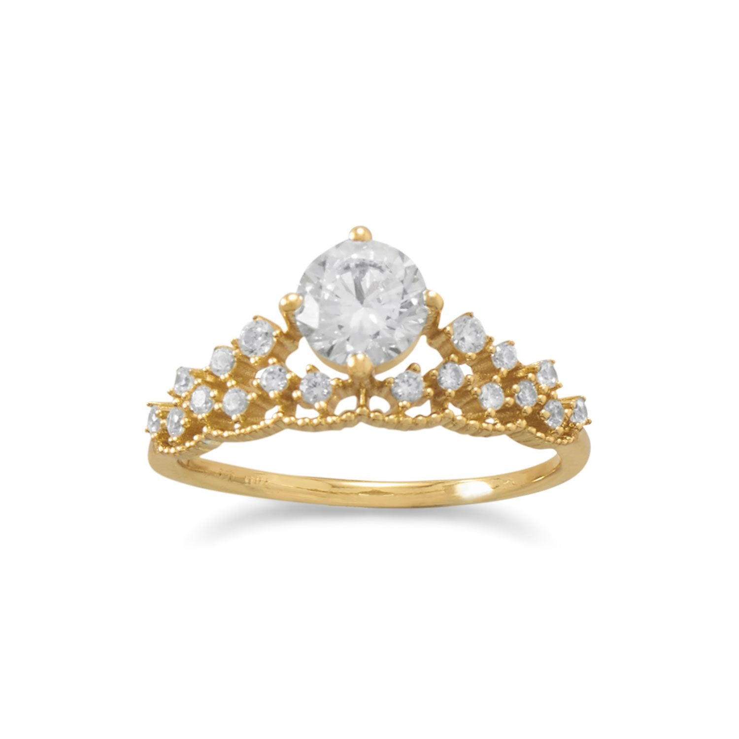 18 Karat Gold Plated CZ Tiara Ring - Rocky Mt. Discount Outlet