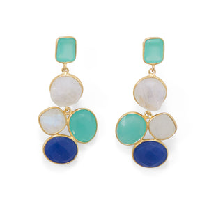 Fashionable 14 Karat Gold Plated Brass Multi Stone Fashion Earrings
