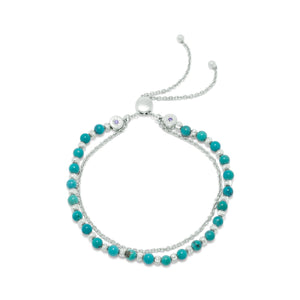 925 Sterling Silver Rhodium Plated Double Strand Reconstituted Turquoise Bolo Bracelet