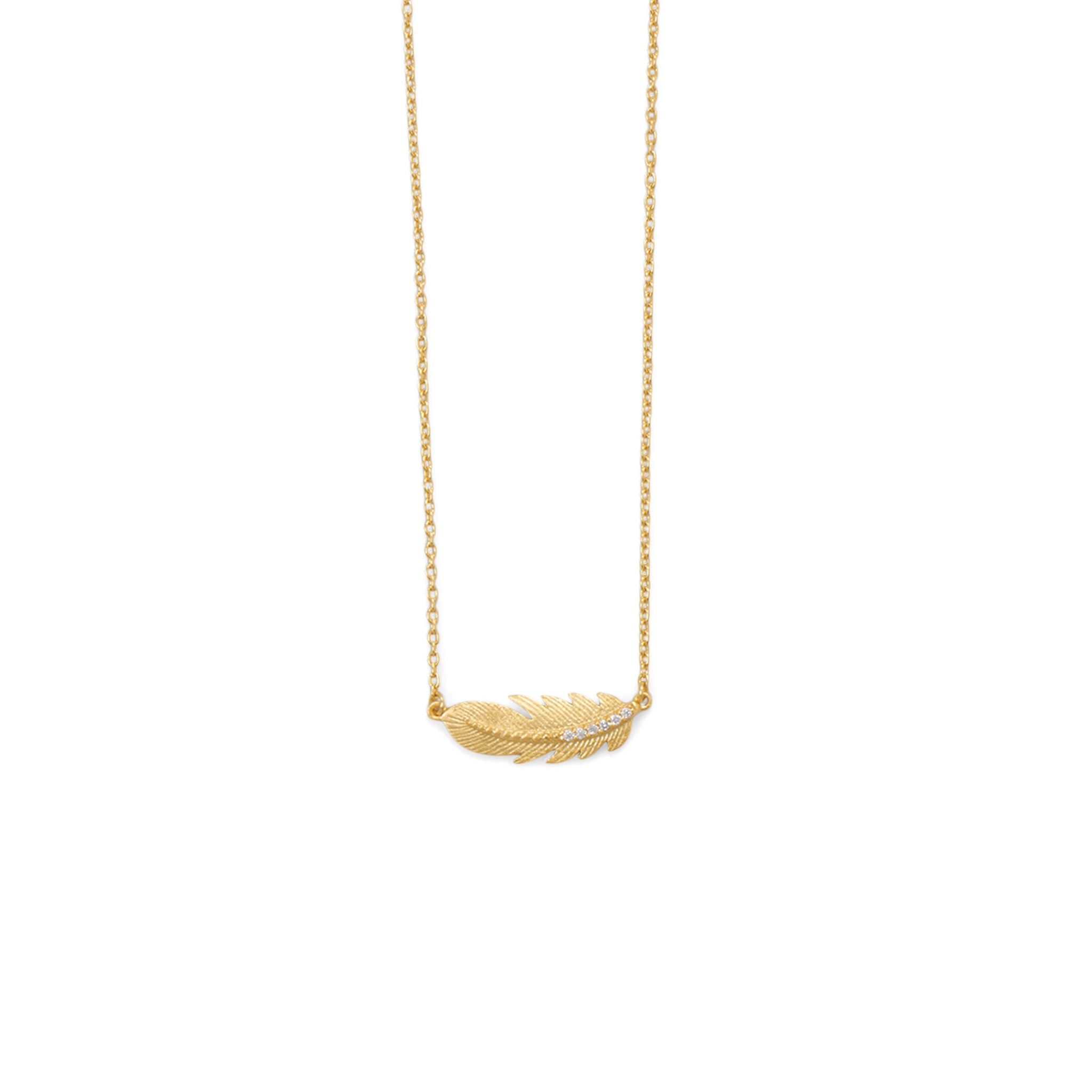 18 Karat Gold Plated Sideways CZ Feather Necklace - Rocky Mt. Outlet Inc - Shop & Save 24/7