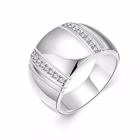 925 Sterling Silver Wide Band CZ Men's Ring