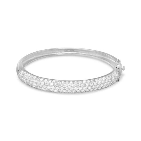 Rhodium Plated Pave CZ Bangle - Rocky Mt. Outlet Inc - Shop & Save 24/7