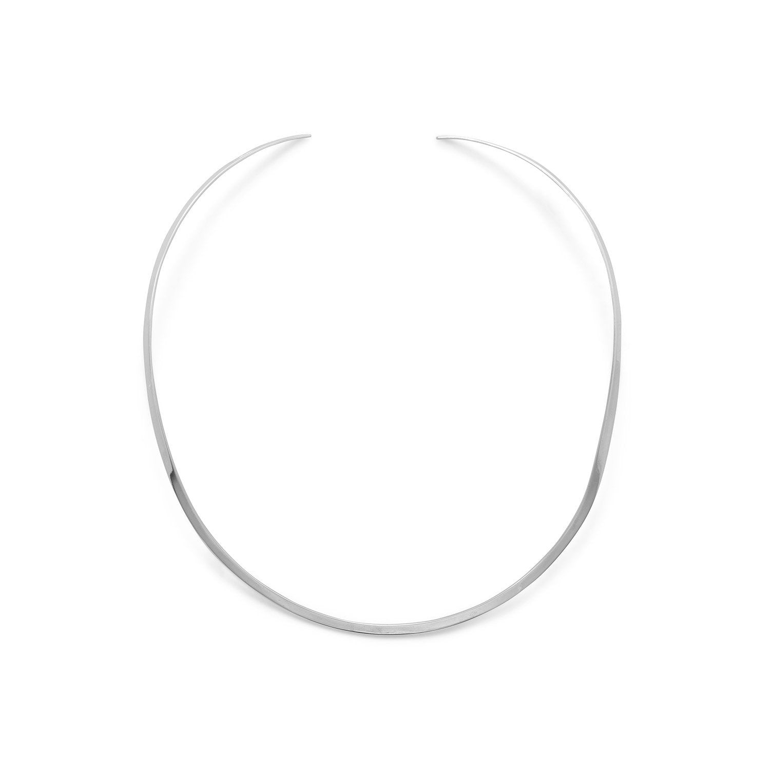 .925 Sterling Silver 3.5mm Polished Open Back Collar Necklace