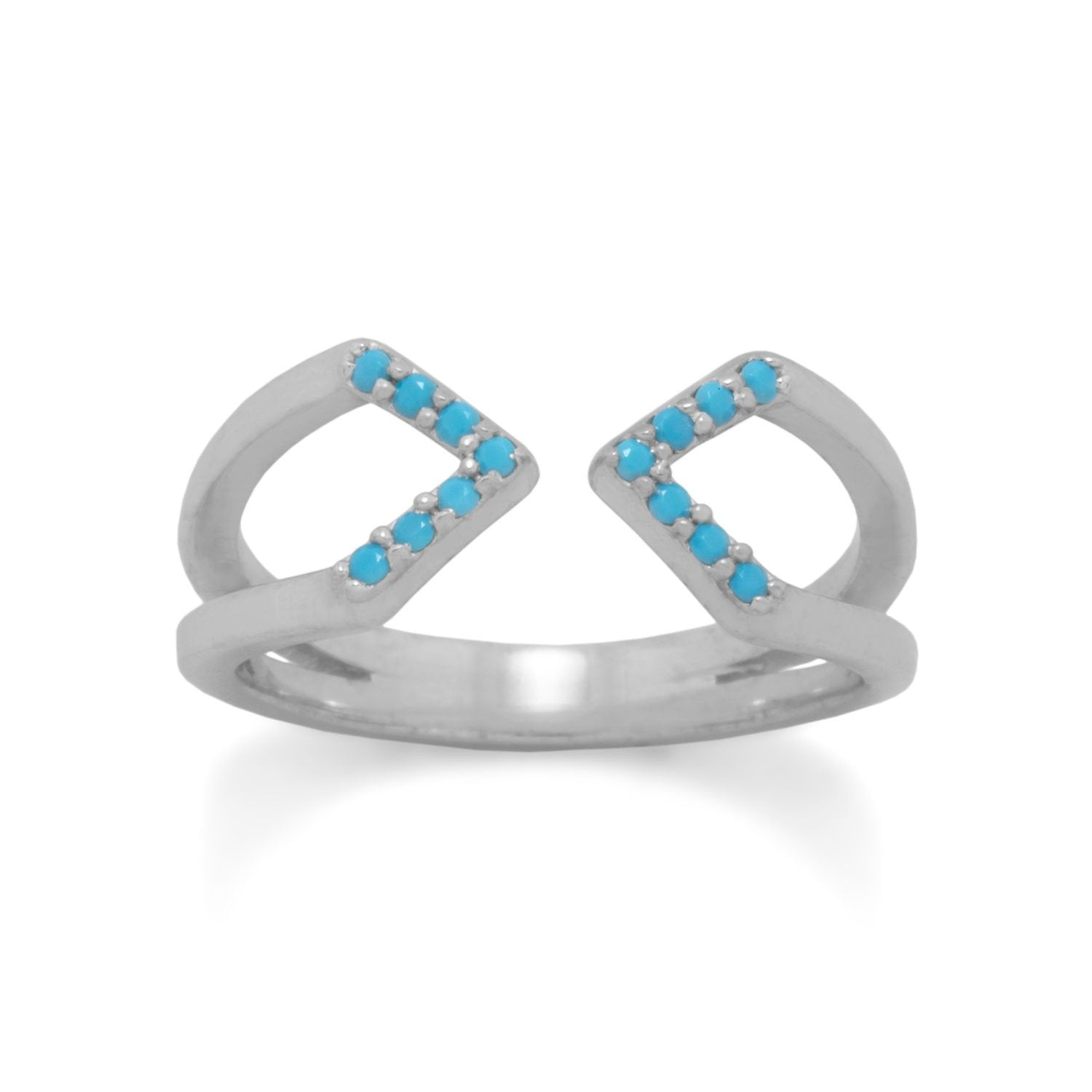 Rhodium Plated Nano Turquoise Split Ring - Rocky Mt. Outlet Inc - Shop & Save 24/7