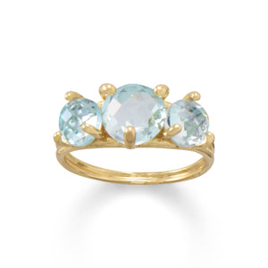 14 Karat Gold Plated Sky Blue Topaz Cocktail Ring - Rocky Mt. Discount Outlet
