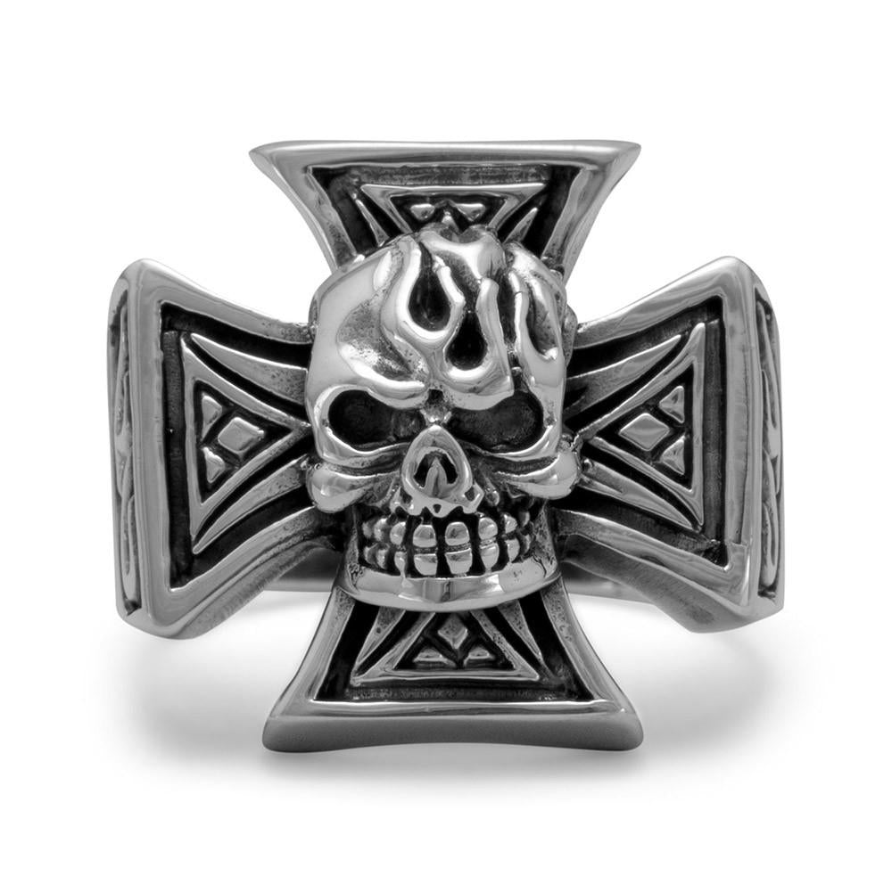 Oxidized Maltese Cross and Skull Ring - Rocky Mt. Outlet Inc - Shop & Save 24/7