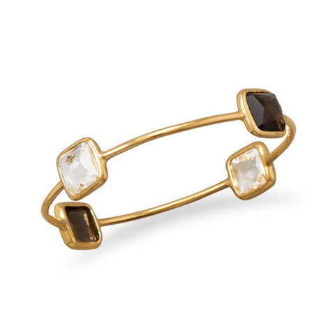 Vermeil Freeform Faceted 4 Stone Bangle - Rocky Mt. Outlet Inc - Shop & Save 24/7