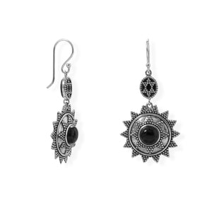 925 Sterling Silver Oxidized Beaded Sun Design Black Onyx Earring