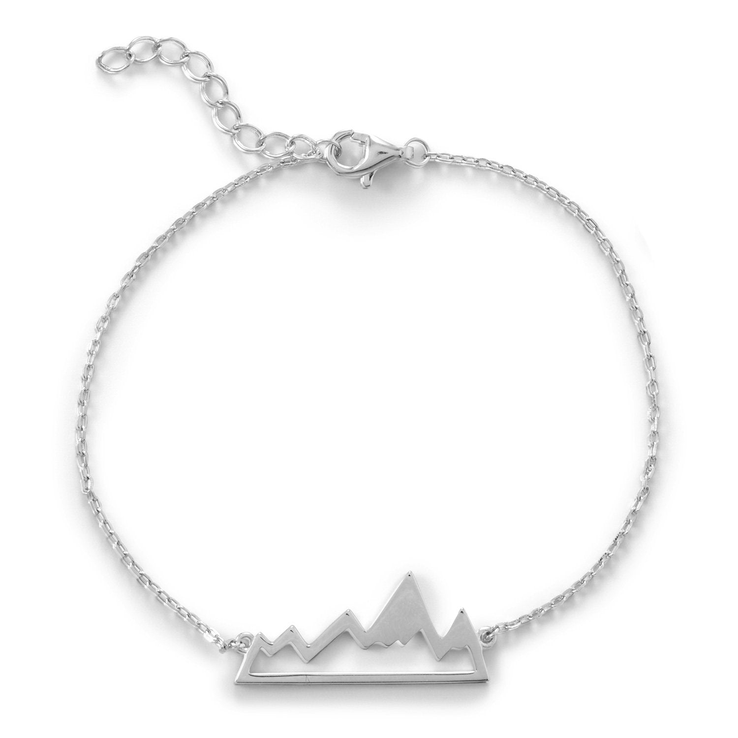 925 Sterling Silver Rhodium Plated Mountain Range Bracelet