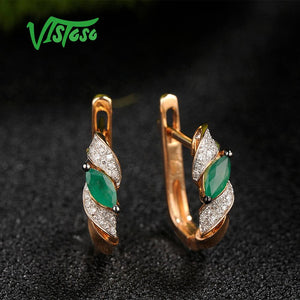 14K 585 Rose Gold Glamorous Shiny Emerald Sparkling Diamond Earrings Fine Jewelry