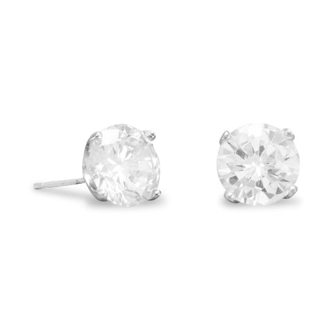 925 Sterling Silver Rhodium Plated 8mm CZ Stud Earrings