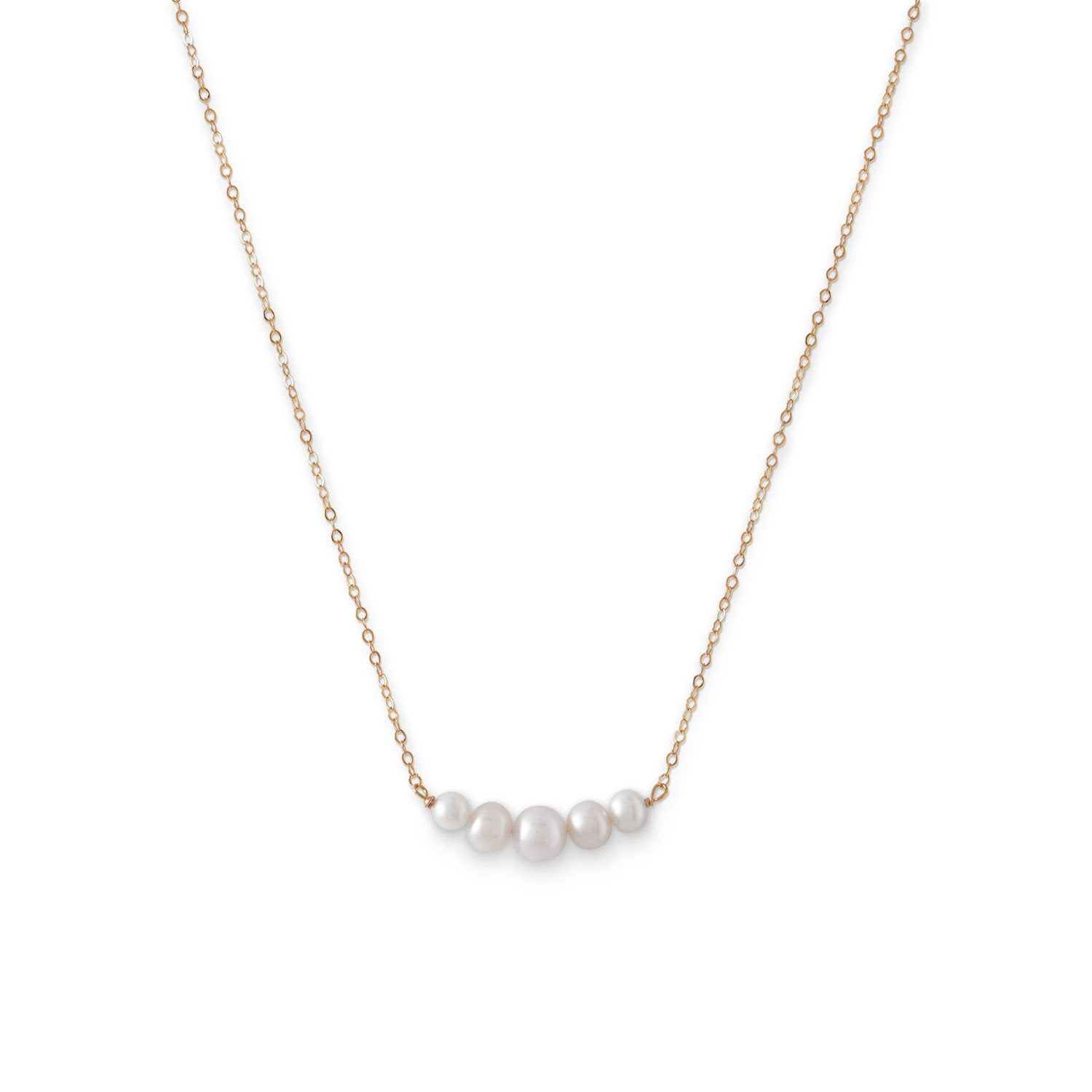 14 Karat Gold Necklace with 5 Cultured Freshwater Pearls - Rocky Mt. Discount Outlet